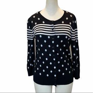 Ann Taylor Polka Dot Striped Black White Cardigan